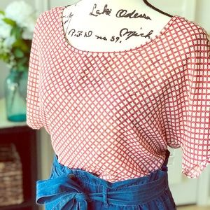 MADEWELL Coral Beige Criss Cross Blouse